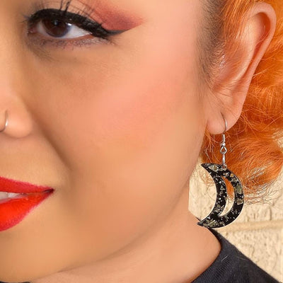 Erstwilder Essentials Crescent Moon Chunky Glitter Resin Drop Earrings - Gold EE1006-CG6500