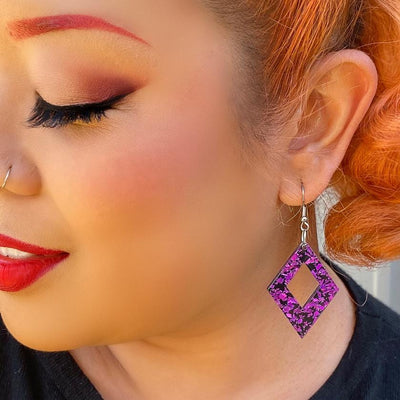 Diamond Chunky Glitter Resin Drop Earrings - Fuchsia
