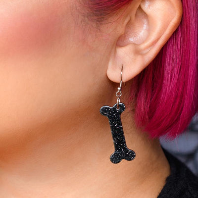 Bones Glitter Resin Drop Earrings - Black