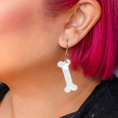 Erstwilder Essentials Bones Textured Resin Drop Earrings - White EE1014-T8000