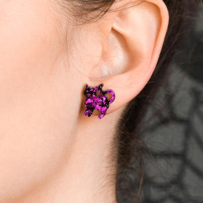 Cat Chunky Glitter Resin Stud Earrings - Purple