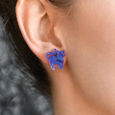Cat Ripple Glitter Resin Stud Earrings - Purple