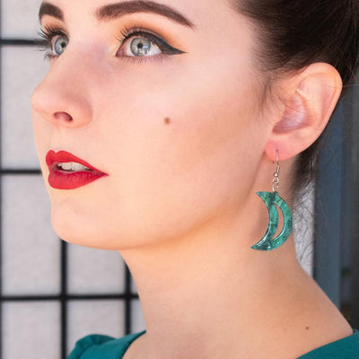Erstwilder Essentials Crescent Moon Ripple Glitter Resin Drop Earrings - Emerald EE1006-RG4100