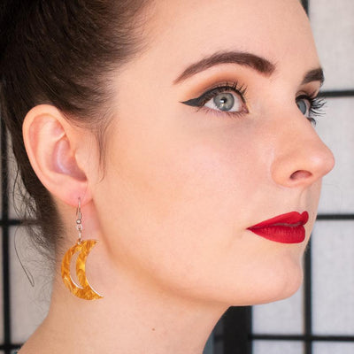 Crescent Moon Ripple Resin Drop Earrings - Gold