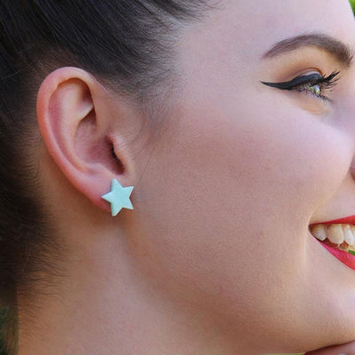 Star Marble Resin Stud Earrings - Mint