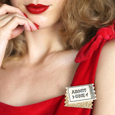 Admit One Ticket Brooch