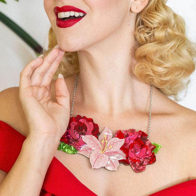 Tickled Pink Flower Necklace (Large)