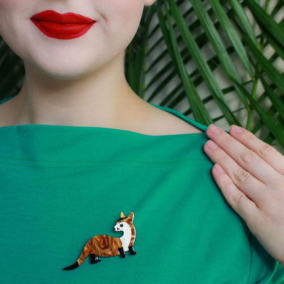 Prince of the Prarie Black-Footed Ferret Brooch