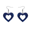 Erstwilder Essentials Heart Ripple Glitter Resin Drop Earrings - Blue EE1005-RG3000