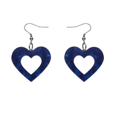 Heart Ripple Glitter Resin Drop Earrings - Blue