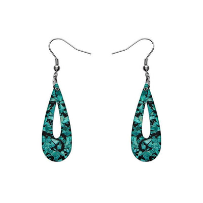 Rain Drop Chunky Glitter Resin Drop Earrings - Teal