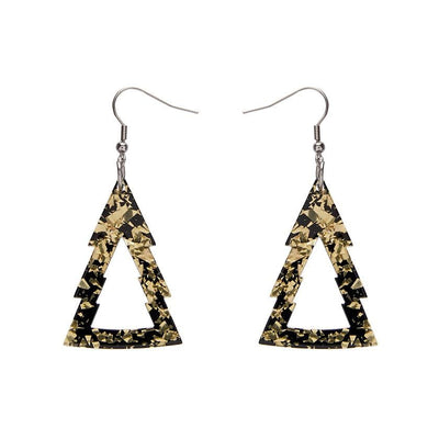 Tree Chunky Glitter Resin Drop Earrings - Gold