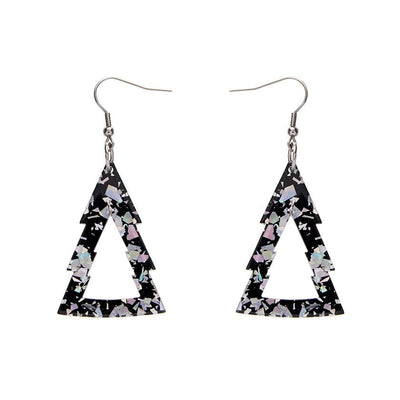 Tree Chunky Glitter Resin Drop Earrings - Holographic Silver