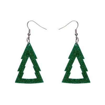 Tree Glitter Drop Earrings - Green