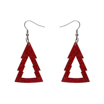 Tree Glitter Resin Drop Earrings - Red