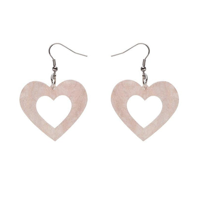 Heart Ripple Glitter Resin Drop Earrings - Pink