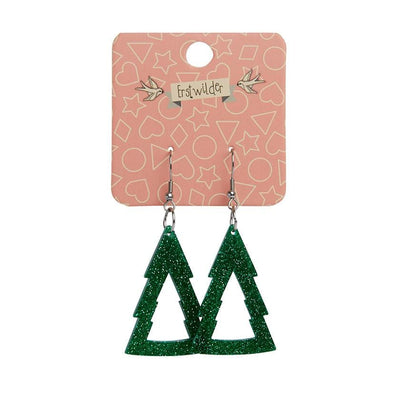 Erstwilder Essentials Tree Glitter Drop Earrings - Green EE1010-SG4000
