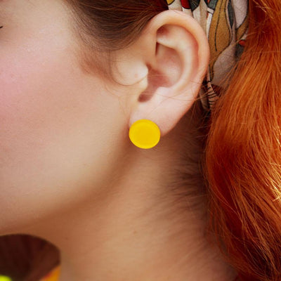 Circle Bubble Resin Stud Earrings - Yellow