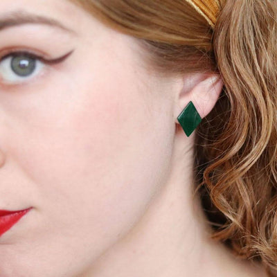 Diamond Bubble Resin Stud Earrings - Emerald
