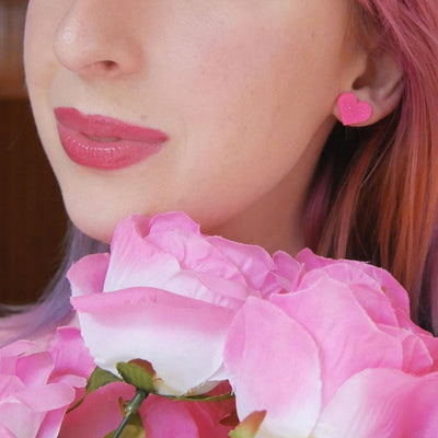 Heart Solid Resin Stud Earrings - Pink