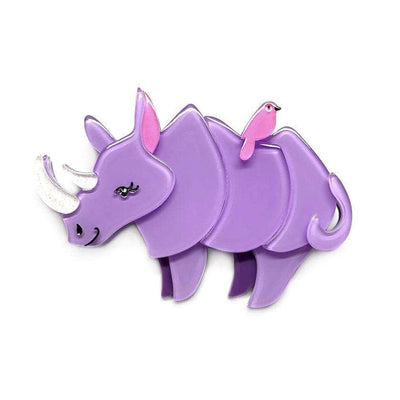 Life By the Horns Rhino Brooch