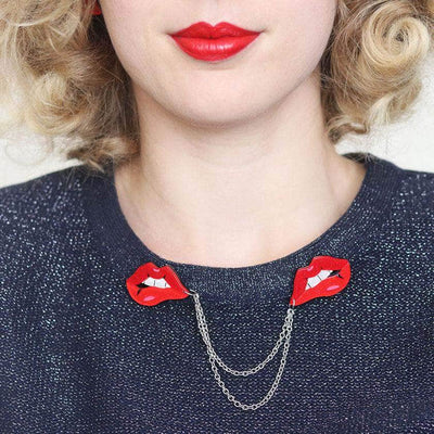 Double Feature Lips Double Brooch