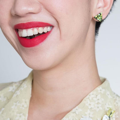 Triangle Chunky Glitter Resin Stud Earrings - Lime