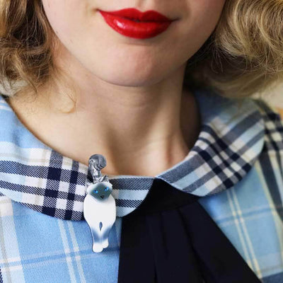 Erstwilder Lena the Blue Eyed Birman Cat Brooch BH5918-8073