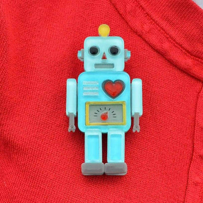 Nuts and Bolts Robot Brooch