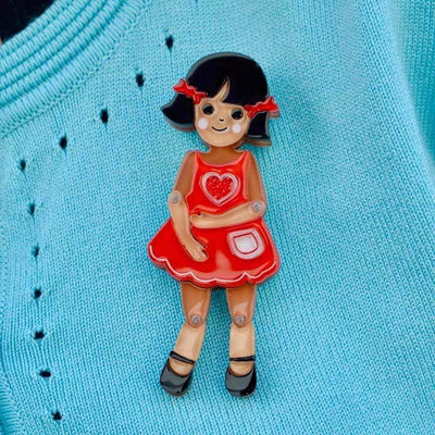 Erstwilder Bendy Wendy Doll Brooch BH6707-1092