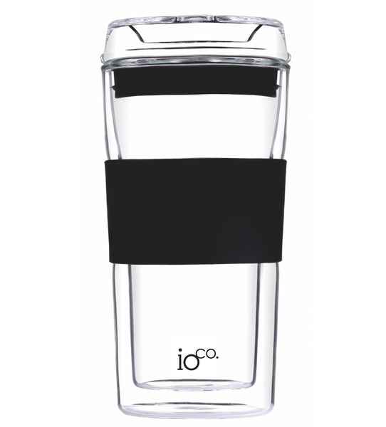 Hand-blown IOCO 12 oz Glass Tea & Coffee Traveller Mug cup