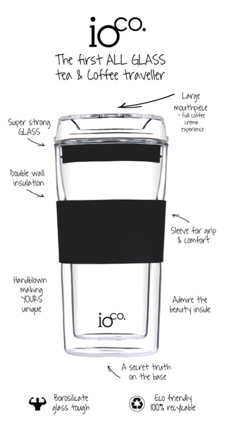 IOCO ALL GLASS 12 oz Glass Tea & Coffee Traveller Cup - Black Night
