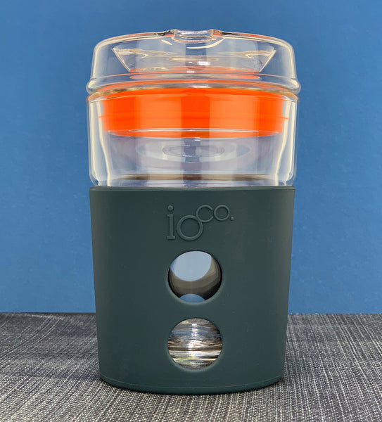 IOCO ALL GLASS 8oz Coffee Traveller - Black Night with Apple Green Seal