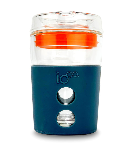 IOCO ALL GLASS 8oz Coffee Traveller - Midnight with Kumquot Orange Seal