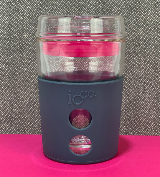 IOCO ALL GLASS 8oz Coffee Traveller - Marshmallow with Hot Pink Seal