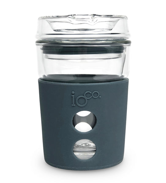 IOCO ALL GLASS 8oz Coffee Traveller - Stone with Marshmallow Seal
