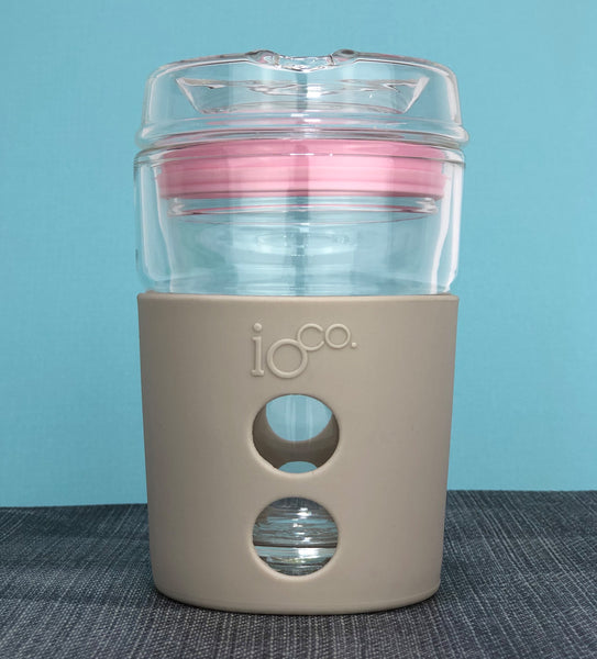IOCO ALL GLASS 8oz Coffee Traveller - Midnight with Hot Pink Seal