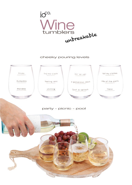 Wine Tumblers (Set of 4) - unbreakable Tritan with Cheeky pouring levels