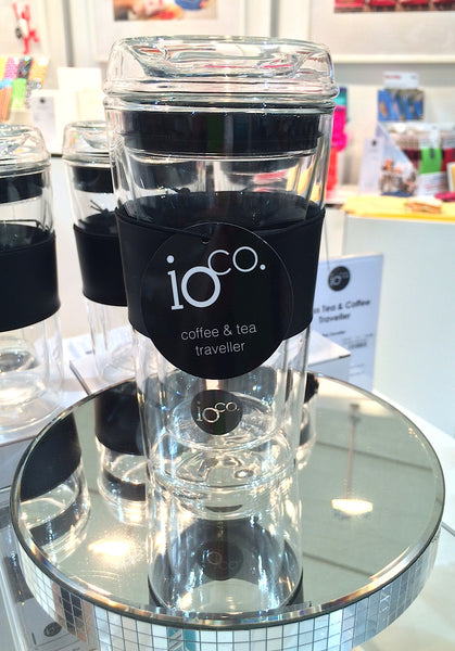 Hand-blown IOCO 12 oz Glass Tea & Coffee Traveller Mug cup - FRESH MINT