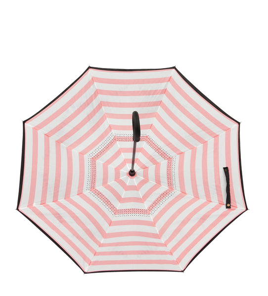 ioco Reverse Umbrella in Black & White Pin Stripe