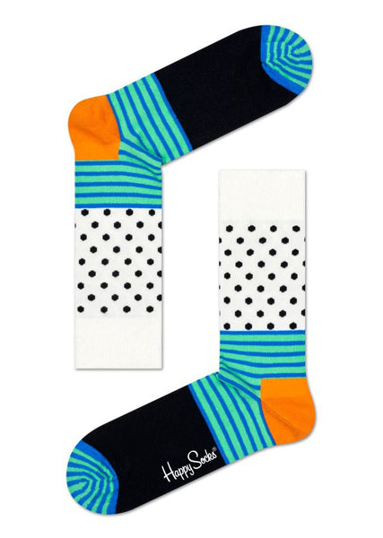 Happy Socks - Striped Dot Sock in Orange, Mint, White & Black