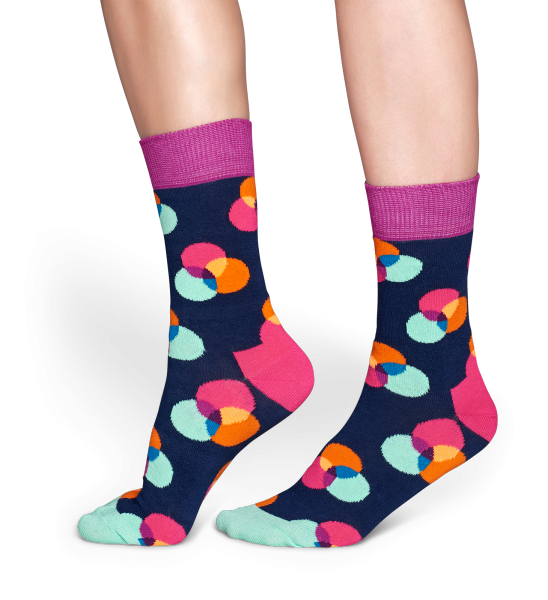 Happy Socks - Spectrum Socks in Navy, Purple & Mint