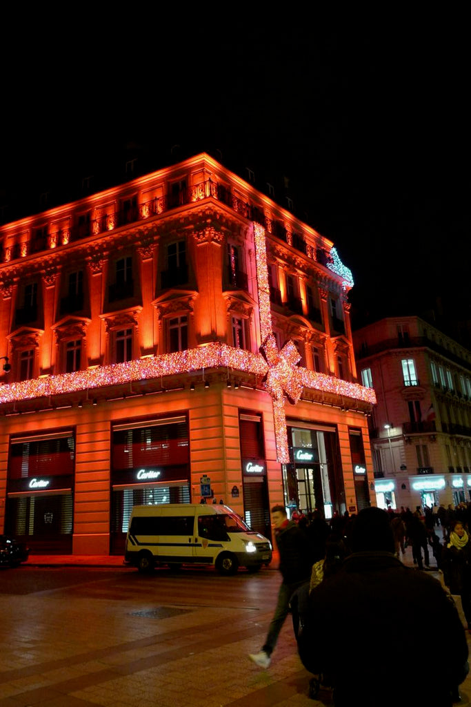 Lights on the building in the city of Paris