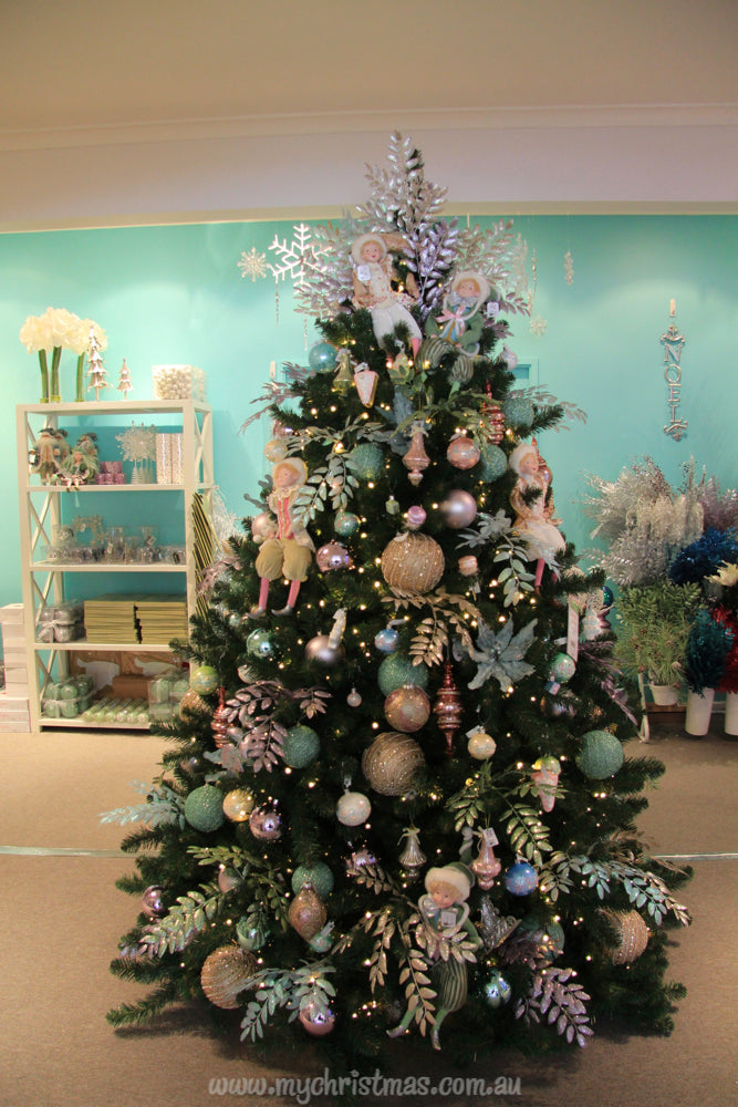 Christmas tree with elves, champagne gold and mint green.