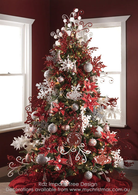 Red and White Decorated Christmas Tree