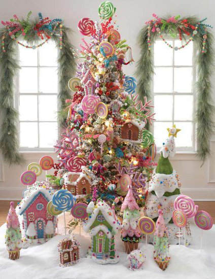 Christmas tree decorated with candy style decorations