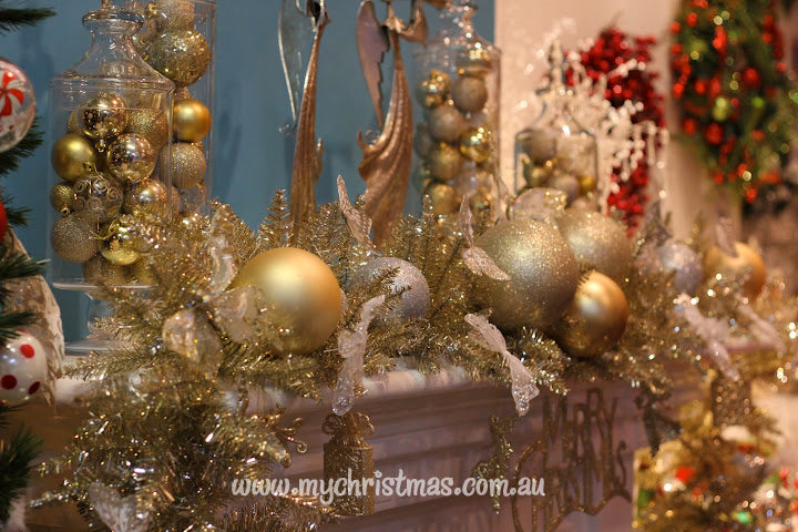 Gold Christmas Mantel display