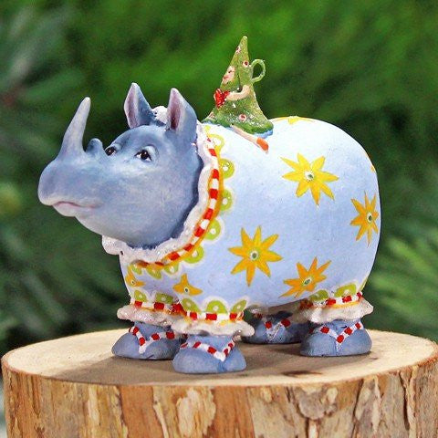 Mini Roberta Rhino Ornament 8cm