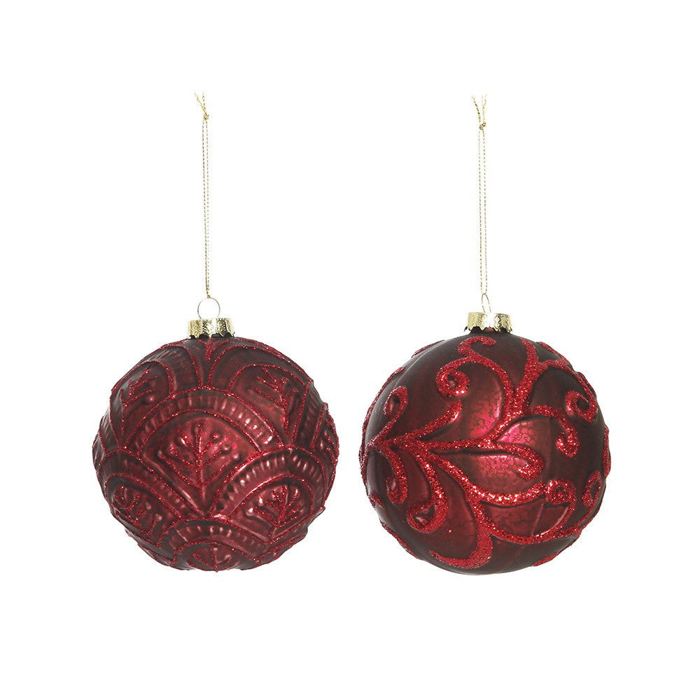 Glass Burgundy Brocade Bauble Lge 2ass