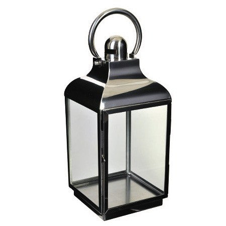 Tall Silver/ Glass Lantern